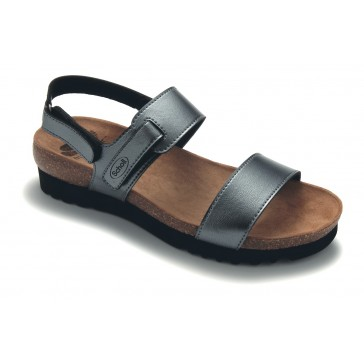 Scholl Bioprint Diamond Wedge Back Strap Sandals - Pewter