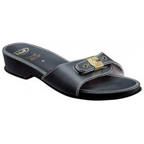 Scholl Leather Look Sandals Low - Navy